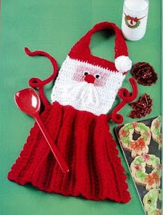 Crochet Santa Apron Pattern~So Cute!!  The pattern is a copy of a magazine page so kinda difficult to read.