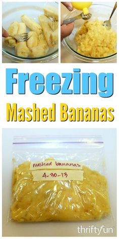 Freezing Mashed Bananas - - Here is the perfect thing to do with bananas that ripen too soon. Mash them up and freeze them for a future batch of banana bread or pancakes, or just to add to a morning smoothie. Frozen Banana Recipes, Ripe Banana Recipe, Frozen Meals, Frozen Fruit, Freezing Vegetables, Freezing Fruit, Freezing Milk, Freezing Baby Food, Chocolate Covered Bananas Frozen