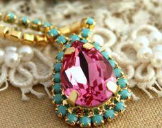 Swarovski necklace - Plated 14 k gold
