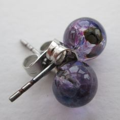 Handmade glass & surgical steel ball stud earrings in transparent purple mix  - SRA SRAJD - handmade in North Somerset by UK designer maker by BlueBoxStudio on Etsy