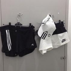 black adidas shorts ~ white adidas hat ~ white nike shorts