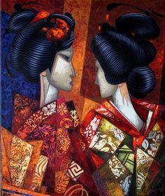 Geishas de Kyoto by Marius Zabinski 2014 Oil on Canvas 65 x 54 cm AVAILABLE