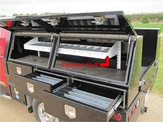 Powder coated utility and service truck top mounted tool boxes for trailer and truck bed. Manufacturer of tool boxes. Pickup Tool Boxes, Truck Bed Tool Boxes, Truck Bed Storage, Truck Tools, Tool Storage, Utility Bed, Utility Truck, Utility Trailer, Pick Up