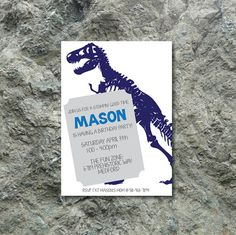 Dinosaur birthday party invitation; dino theme invitation; dinosaur theme invitation; t-rex invitation