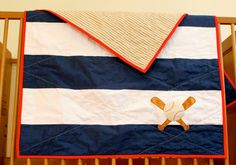 Sports theme quilt. Baseball, football, basketball or soccer nursery. Crib or toddler quilt.