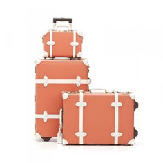 The Correspondent Luggage Set in Orange, Steamline Luggage $615 Travel Style: Fashionable Accessories For Your Trip | The Zoe Report