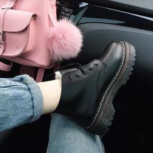 2015 otoño y el invierno de algodón acolchado zapatos de plataforma de moda vintage negro cordón de botas de mujer botas martin planos del talón de la mujer(China (Mainland))