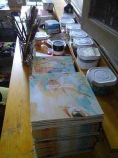 Les pinceaux de Isabelle Janier. http://www.photographe-tableau-paris.com/ – avec Raphaële Kriegel.