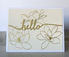 Marybeth's time for paper - Hello - Gold Embossed flower outlines