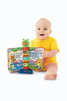"""Fisher-Price Laugh & Learn Storybook Rhymes by Fisher-Price. $17.20. From the Manufacturer                Storybook learning comes to life with a friendly bookworm, lights and sing-along nursery rhymes. Light-up hands point the way for baby to turn pages and learn about letters, numbers, colors and first words. Lots of story time and learning fun. Teaches: A-B-C's, 1-2-3's, Colors, First words. Requires 3 """"AAA"""" (LR03) alkaline batteries.                    ..."""