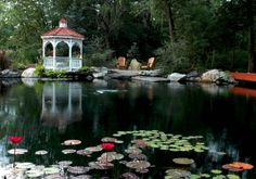 Gazebo and pond with a fire pit close.