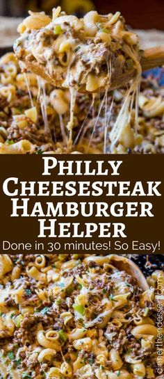Kids Meals We LOVE this Philly Cheesesteak Hamburger Helper, and the kids loved it too! - Philly Cheesesteak Hamburger Helper will make you forget all about the boxed type you had as a kid, you'll love this creamy, cheesy cheesesteak pasta. Crock Pot Recipes, Beef Steak Recipes, Beef Recipes For Dinner, Cooking Recipes, Cooking Tips, Beef Tips, Cooking Beef, Hamburger Dinner Ideas, Chicken Recipes