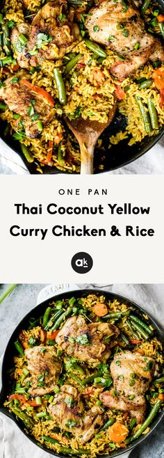 One Pan Thai Coconut Yellow Curry Chicken & Rice Incredibly flavorful yellow curry chicken and rice made in one pot with plenty of veggies and delicious flavors from coconut milk, ginger, garlic and turmeric. Great for meal prep! Milk Recipes, Kitchen Recipes, Asian Recipes, Chicken Recipes, Cooking Recipes, Healthy Recipes, Ethnic Recipes, Cooking Games, Cooking Classes