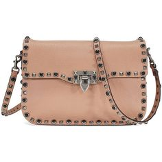 Valentino Rockstud Rolling Leather Shoulder Bag - Noisette ($1,549) ❤ liked on Polyvore featuring bags, handbags, shoulder bags, valentino handbags, beige leather purse, leather purses, studded leather purse and leather flap handbags