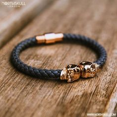 The sleek & stylish Grey Nappa Leather/ 18kt Rose ✨Gold Twin Skull Bracelet by@Northskull is the perfect complement to the wrist | Available now at ➡️Northskull.com ✈️[Worldwide Shipping] #Luxury