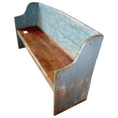 Pine settle bench in old blue paint | From a unique collection of antique and modern benches at http://www.1stdibs.com/furniture/seating/benches/