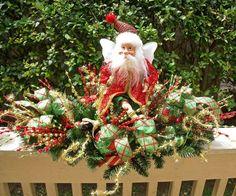 Christmas Centerpiece, Christmas Floral Arrangement, Santa Centerpiece, Santa Fairy Table Decoration, Red and Green