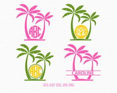 Palm Tree SVG, Palm Tree Monogram frames, Beach Monogram SVG,palm beach svg,for CriCut Silhouette cameo Files svg jpg png dxf Tree Tattoo Back, Pine Tree Tattoo, Monogram Decal, Monogram Letters, Palm Tree Pictures, Tree Silhouette, Silhouette Cameo, Silhouette Design, Silhouette Studio