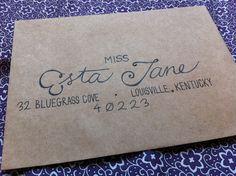 Wedding invitation envelopes hand written by GreySnailPress, via Etsy.