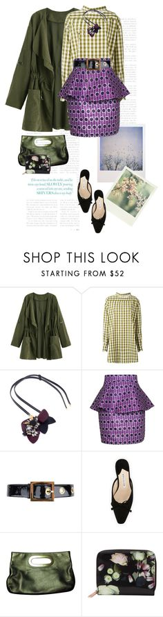 """""""Take a bite of your plum-colored life..."""" by clothesmonkey ❤ liked on Polyvore featuring Polaroid, Erika Cavallini Semi-Couture, Marni, FAIR+true, Gucci, Manolo Blahnik, Michael Kors and Ted Baker"""