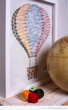 string art balloon nursery decoration ideas Ballon String Art