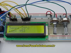 Arduino design with LCD display, temperature sensor and light sensor. Arduino Motor, Simple Arduino Projects, E Electric, Display Lcd, Rasberry Pi, Raspberry, Arduino Programming, Diy Store, Light Sensor