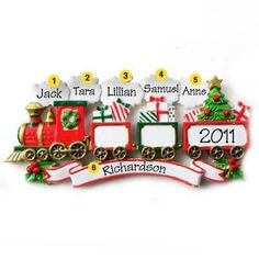 Train Family of 5 Personalized Christmas Ornament