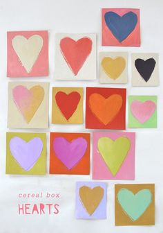 Heart Decor DIY for Valentine's Day ~ Mary Wald's Place - make these sweet heart cards from cereal boxes and acrylic paints Arts And Crafts For Teens, Art Activities For Kids, Easy Crafts For Kids, Toddler Crafts, Crafts To Make, Art For Kids, Kid Art, Preschool Ideas, Valentines Day Food