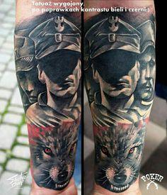 Polish Tattoos, War Tattoo, Wolves, Tattoos For Guys, Poland, Tatoos, History, Sleeve, Military Tattoos