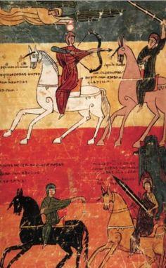 Los cuatro jinetes del Apocalipsis, Beato de la Seu d´Urgell .Archivo de la catedral . Rioja de León, siglo X