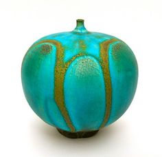 ROSE CABAT FEELIE No. 4, TURQUOISE WITH GOLD DRIPS | My Rose Cabat Pottery Collection  http://www.cabatstudio.com/rose.html