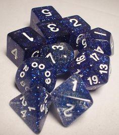 FRP GAMES - PRODUCT - Koplow RPG Dice Sets: Blue/White Glitter 10-Die Set