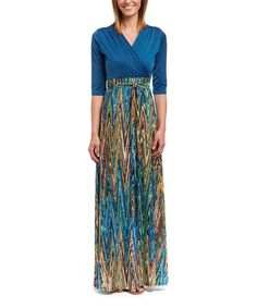 Look what I found on #zulily! Orange & Teal Zig-Zag Surplice Maxi Dress #zulilyfinds