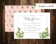 Cactus Baby Shower Invitation; Succulent; Double-Sided; Printable or set of 10