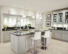 Light Gray Cabinets Black Counters And White Floor Are Too