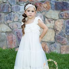 lace rustic flower girl dress,white lace dresses , flower girl dress , country chic flower girl dress,Christening dress, babylace dress