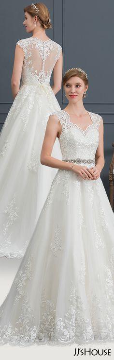 047ca2edcc Ball-Gown Princess V-neck Court Train Tulle Wedding Dress