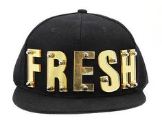 FRESH SNAPBACK MIRROR ACRYLIC LETTER METAL BOLD SCREW 80% COTTON 20% CHEMICAL FIBER ADJUSTABLE ONE SIZE NLH2174GDBLK