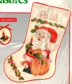 "VINTAGE NEEDLE TREASURES ""SANTA'S BIG NIGHT"" STOCKING CREWEL EMBROIDERY KIT #NeedleTreasures"