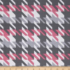 Michael Miller Big Time Houndstooth Girl from @fabricdotcom  Designed for Michael Miller Fabrics, this fabric is perfect for quilting, apparel and home décor accents. Colors include white, pink and grey.