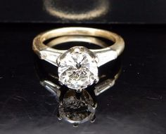14K Yellow Gold Round Diamond Solitaire w/Baguette Accents Engagement Ring Sz 5 #SolitairewithAccents