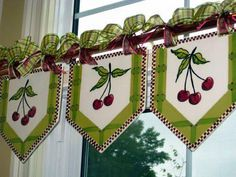 Ready-Made Valances for a Country Cottage Kitchen. Heather Lane Pottery- You can order these cute Valances in almost in any Fruit or Flower. Kitchen Curtains, Drapes Curtains, Drapery, Kitchen Window Treatments, Curtain Designs, Curtain Styles, Window Dressings, Window Coverings, Projects To Try