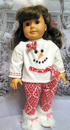 "for American Girl doll ""Wanna Build a Snowman"" 2 piece outfit (18 inch) sweater dress leggings OOAK"