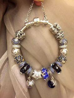 50% OFF!!! $499 Pandora Charm Bracelet Blue. Hot Sale!!! SKU: CB01822 - PANDORA Bracelet Ideas