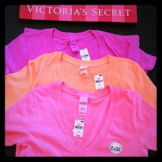 New! PINK 3 shirt bundle! 3 shirts All new with tags All size small Long length True to size PINK Victoria's Secret Tops