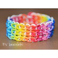 Rainbow Loom Rubberband Rubber Band Triple Friendship Bracelet,... ($9.95) ❤ liked on Polyvore featuring jewelry, bracelets, accessories, rainbow, loom jewelry, friendship bracelet, rainbow jewelry, rubber jewelry and rainbow loom jewelry