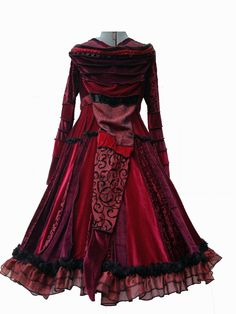 Lace Trimmed, red and black, Velvet Gypsy Adventuring Coat
