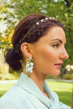 pearl headband and statement earrings