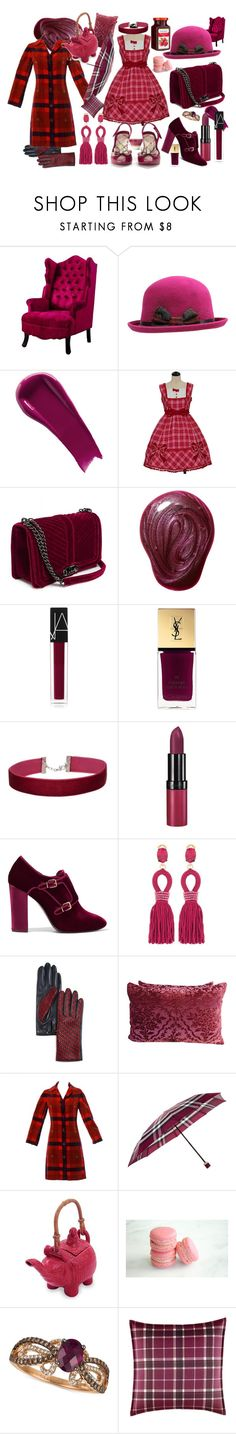 """Madly clad in plaid"" by calico-cat ❤ liked on Polyvore featuring NARS Cosmetics, Yves Saint Laurent, Miss Selfridge, Melissa, Rimmel, Tory Burch, Oscar de la Renta, AGNELLE, Bill Blass and Burberry"