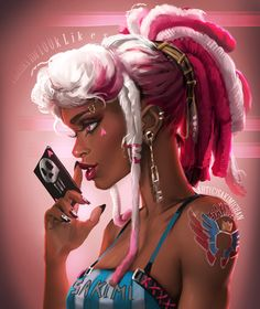 Pink and white dreads goth Character Inspiration, Character Art, Character Design, Black Women Art, Black Art, Black Girls, Ghibli, Sakimichan Art, Arte Black